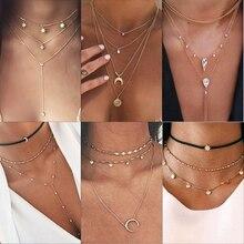 IPARAM, винтажное многослойное ожерелье с кулоном из кристаллов, женское золотое ожерелье с бусинами, Лунная звезда, рога полумесяца, колье, ожерелье, ювелирное изделие, Новинка