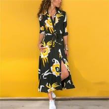 Женское платье рубашка на пуговицах с длинным рукавом и поясом