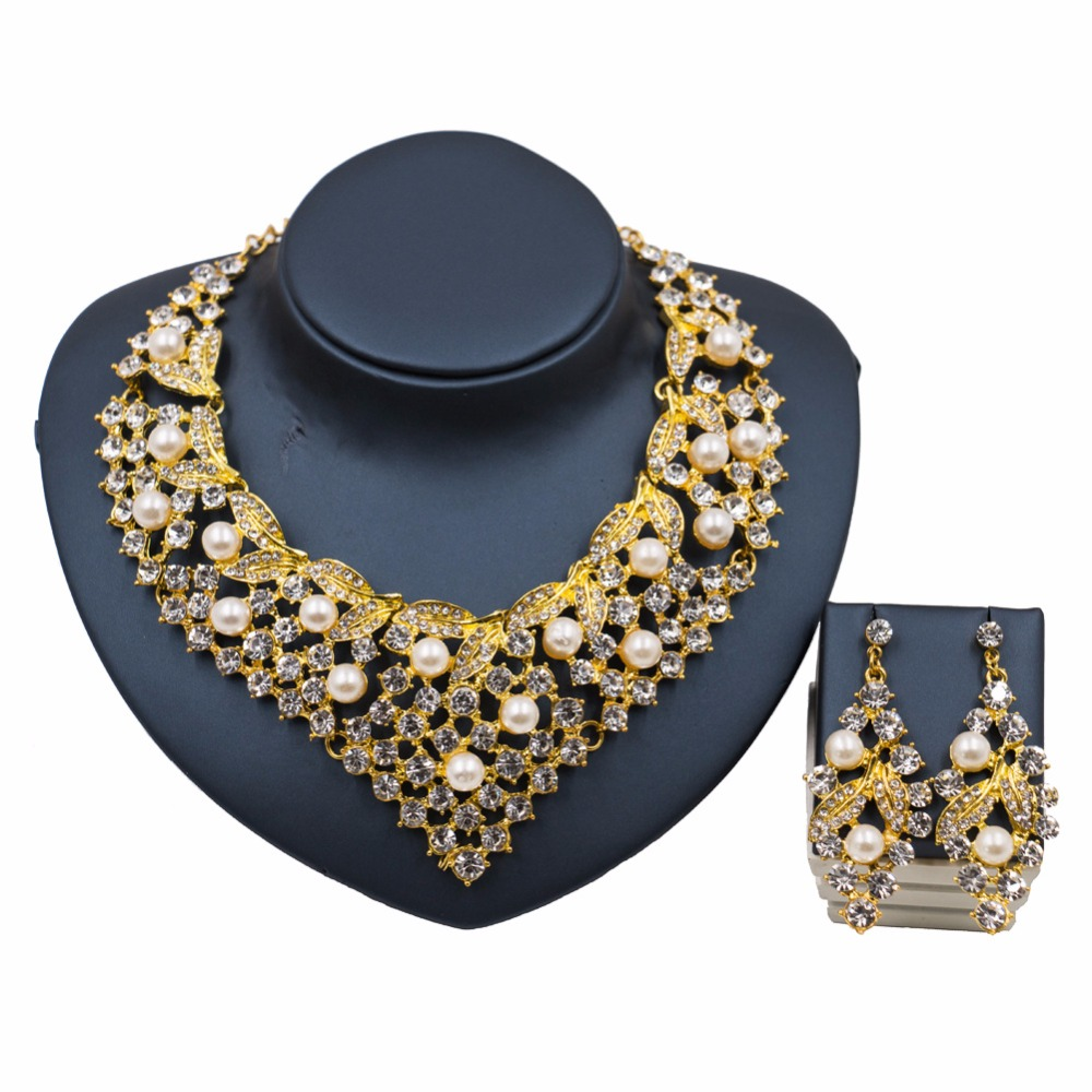 Dubai Pearl Jewelry Set For Women Statement Gold Color Nigerian Beads  Necklace Earrings Set Bridal Dress