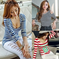 Autumn Long Sleeve Striped Personalized T Shirt Bottoming Tight Fitting Cool T Shirt Strapless Slim Low