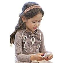 Рубашка с кружевным воротником и рюшами для девочек детская одежда серая/белая Осенняя хлопковая блуза с длинными рукавами для маленьких девочек блузки для свадебной вечеринки