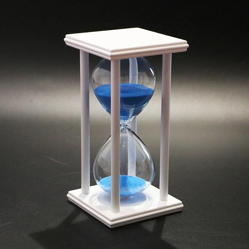 60 minutes sandglass hourglass half hour timer blue sand timer white frame home decoration