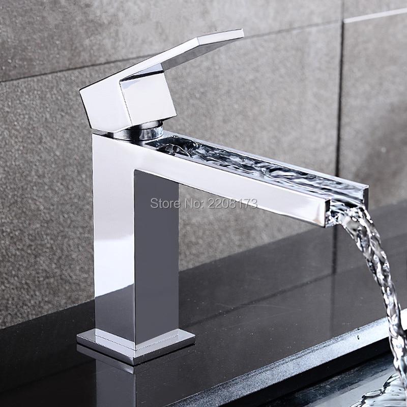 Bath Taps New Arrival Patent Design Square Style Solid Brass Single Lever Waterfall Bathroom Faucet Basin Mixer Tap Smesiteli