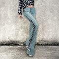 Skinny jeans mujer 2017 pantalones flare pantalones anchos de la pierna de mezclilla de la vendimia Pantalones de Tallas grandes Pantalones Vaqueros delgados de Las Mujeres Femme Negro Azul AC468