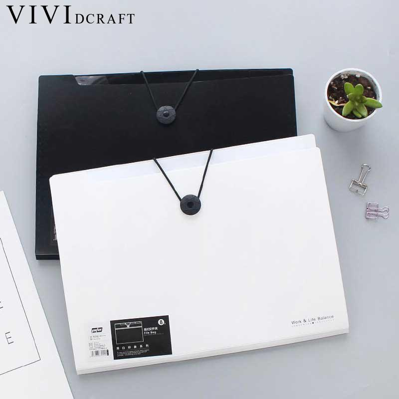 Vividcraft 12 pcs/lot Office Supplies Pure Color Black White File Folder Papel A4 Ring Binder Business Document Organizer A4 kitdef390204unv20962 value kit deflect o three tier document organizer def390204 and universal round ring economy vinyl view binder unv20962