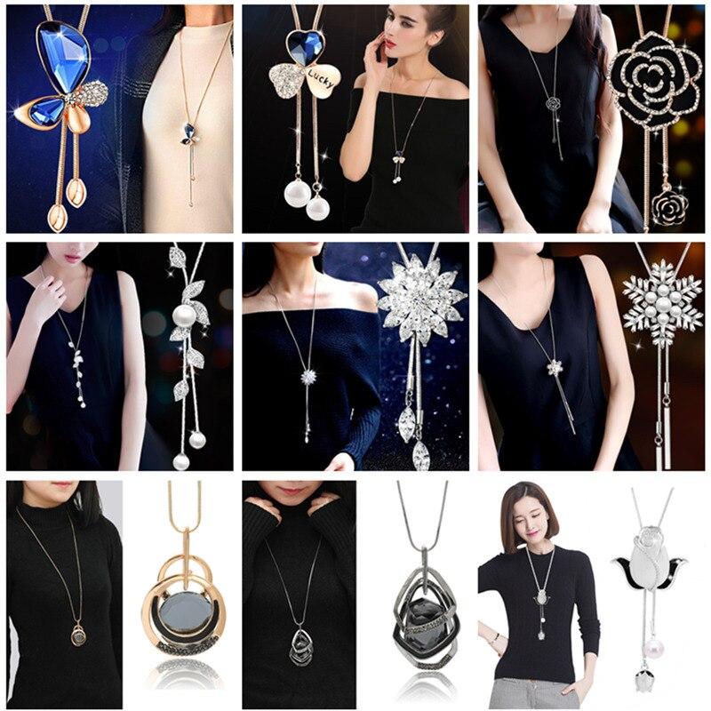 Luxury Rhinestone Necklaces & Pendants Fashion Long Statement Heart Charms Pearl Pendant Sweater Necklace Women Jewellery Bijoux