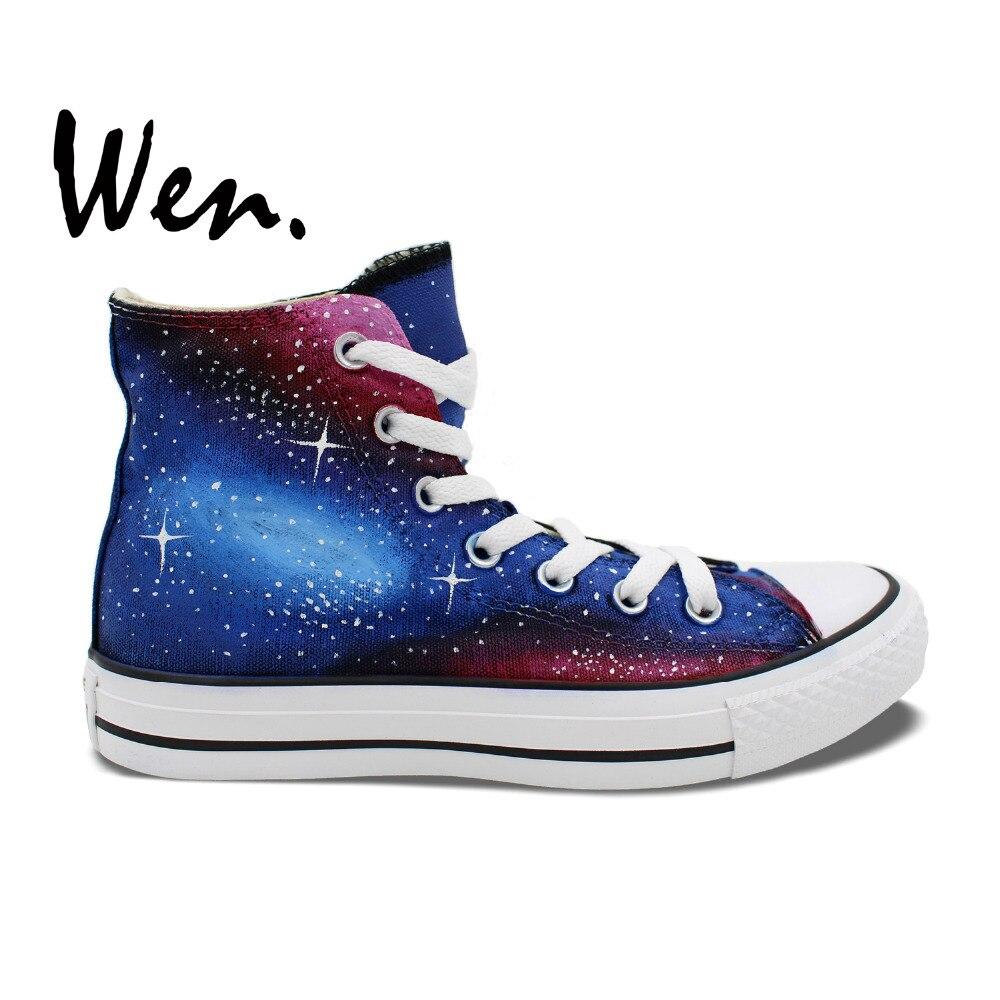 Prix pour Wen Peint À La Main Chaussures Custom Design Original Bleu Vin Rouge Galaxy Nébuleuse de Haute Top Femmes Hommes Toile Sneakers Cadeaux
