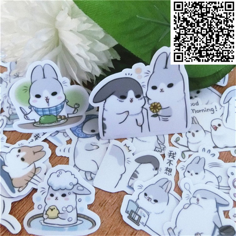 40 Pcs Rogue Rabbit Waterproof Cap Creative Sticker For Album Decoration Luggage  Phone Styling Home Toy Cartoon Stickers