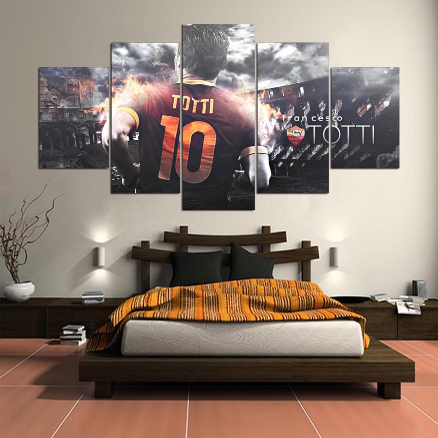 5 Panel Totti AS Roma Serie A Canvas Printed Painting Wall Art HD Print Decor Modern