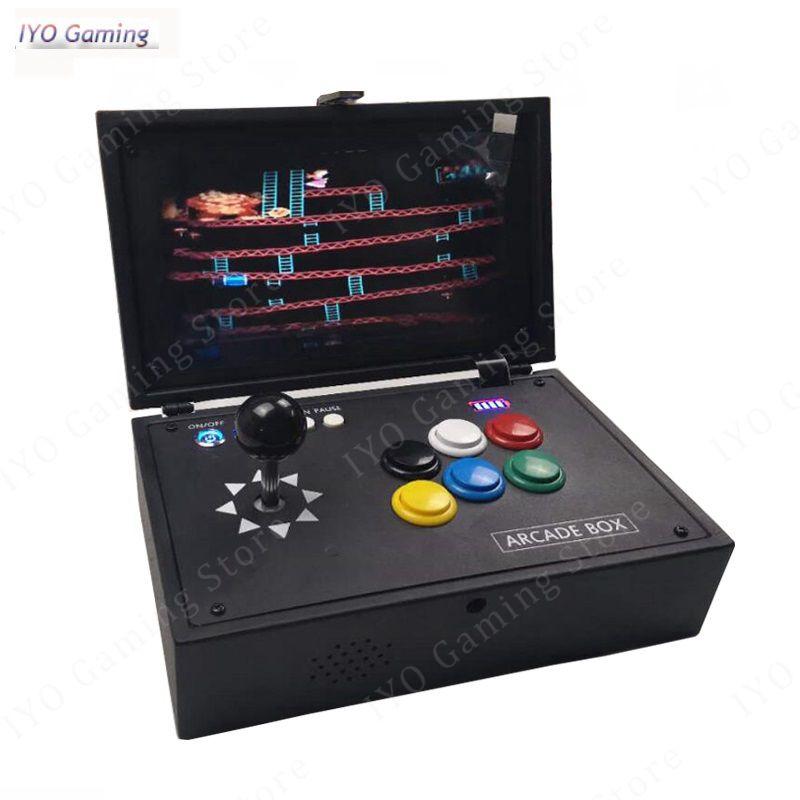 Raspberry Pi 3B + 10 Polegada LCD Video Game Console Inclui 14 K Jogos Instalados Recalbox Mini Máquina De Arcade