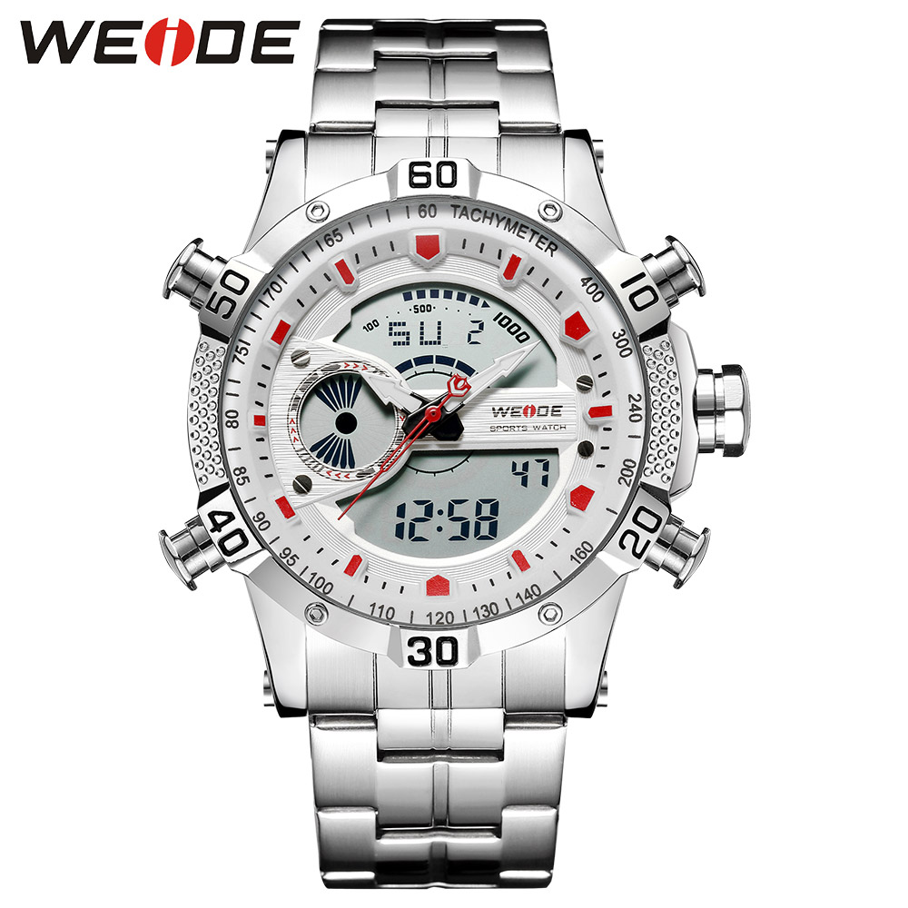 WEIDE Luxury Watch Sport Men Digital Stainless Steelin Quartz Watches Water Resistant Electronics Alarm Clock Steampunk saat weide luxury brand quartz sport relogio digital masculino watch stainless steel analog men automatic alarm clock water resistant