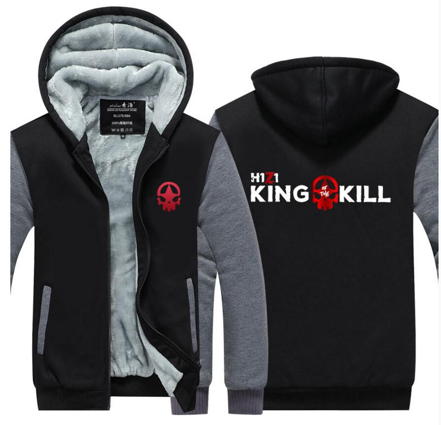 Game H1Z1 Printed TWIN online game fans daily warm zip-up colorful constract color think winter jacket coat hoodie