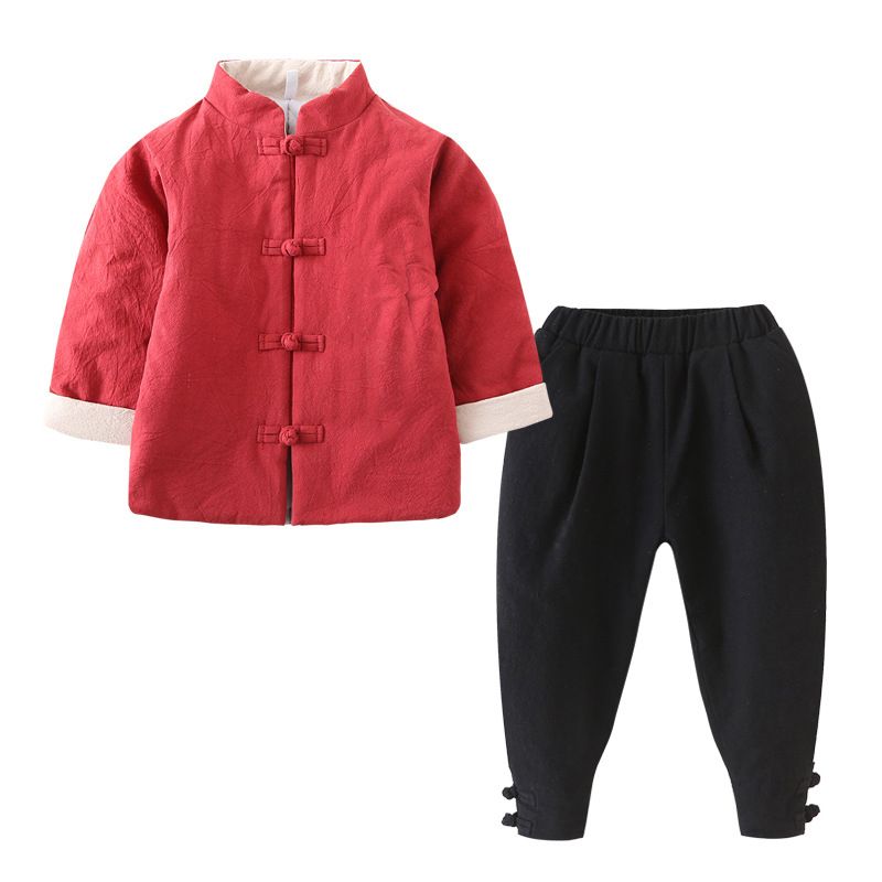 2-8T Cotton Baby Boys Girls Sets 2018 Winter Kids Sets for Boy Thicken Coat + Pants 2Pcs Chinese Style Children Clothing 3cs154