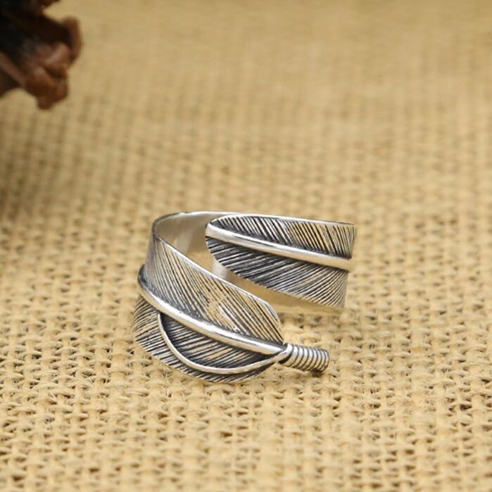 Простой перо Твердые 925 серебро манжеты кольцо Для мужчин Для женщин Blackl тайский серебряное кольцо элегантный хвост кольцо Бесплатный Пода...
