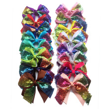 120Pcs/lot 2017 latest 4.3 Rainbow Sequin Bow With Clip pure Handmade Ribbon Boutique Bling Bows Hairgrips Barrettes for girl цена