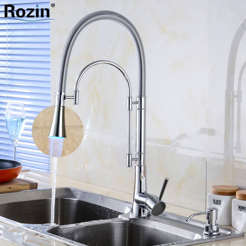 Classic New LED Light Kitchen Mixer Faucet One Handle Single Hole Hot Cold Water Taps Polished