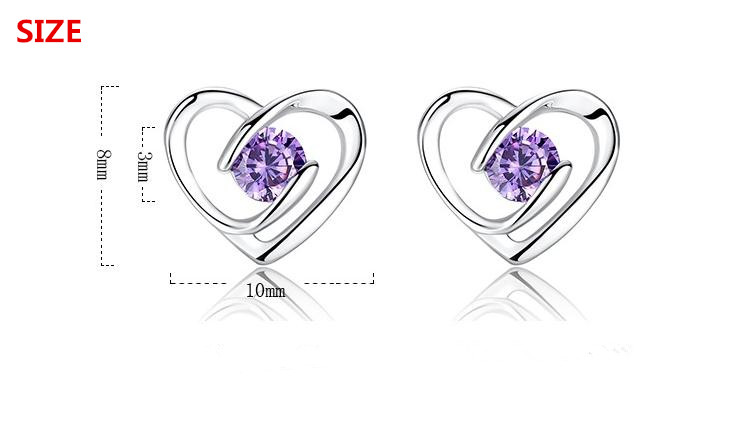 Promotion 925 sterling silver romantic love heart shiny crystal ladies stud earrings jewelry female birthday gift Anti allergy in Stud Earrings from Jewelry Accessories