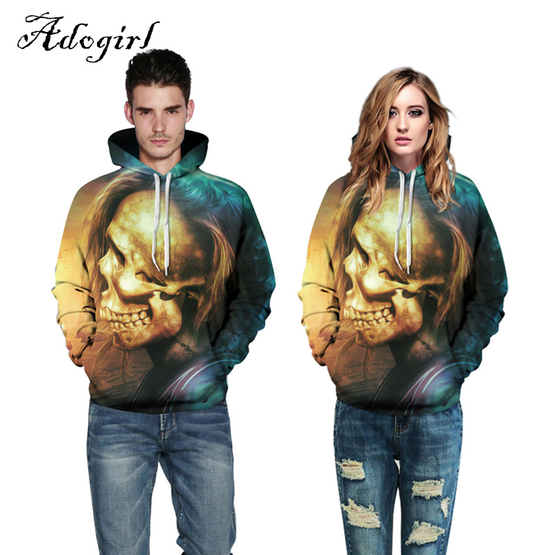 2017 Halloween 3d Print Golden Skull Men Women Thin Hooded Sweatshirt XXXL Fashion Unisex Hoodies Loose Pullovers Tracksuits