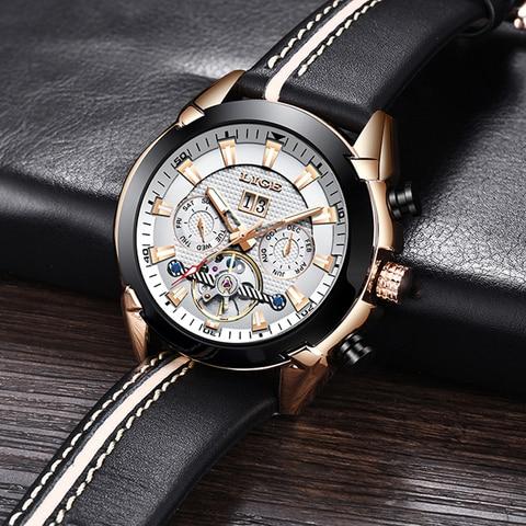 LIGE Men Watch Luxury Brand Tourbillon Automatic Mechanical Watches Waterproof Fashion Leather Business Watch Relogio Masculino Lahore