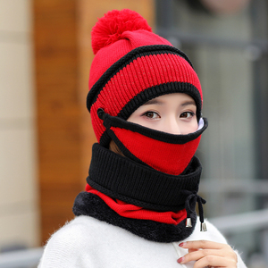 Зимний вязаный шерстяной комбинезон для прогулок на открытом воздухе, Теплый головной платок с шеей для лица, тройной костюм, шапка для ухода за кожей, защитная женская шапка, шарф для девочек