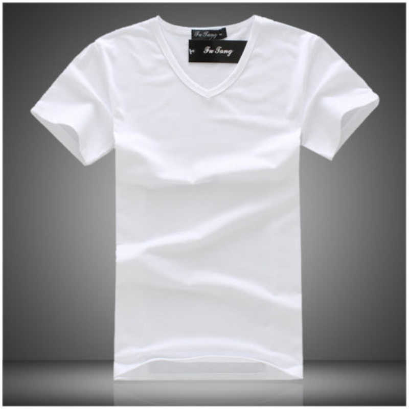 New Summer Holiday Fashion Men's Slim Fit Solid Pure Color Short Sleeve V Neck Muscle Tee T-shirt Casual Tops