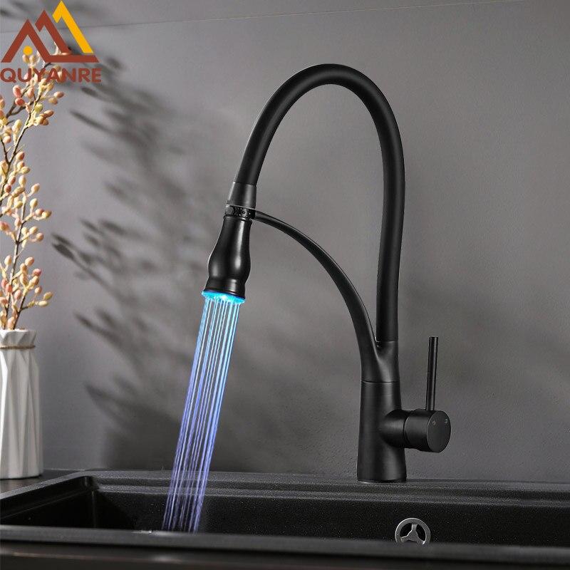 Quyanre Black Chrome LED Kitchen Faucet Pull Out LED Spray Kitchen Sink Faucet 360 Rotation Single