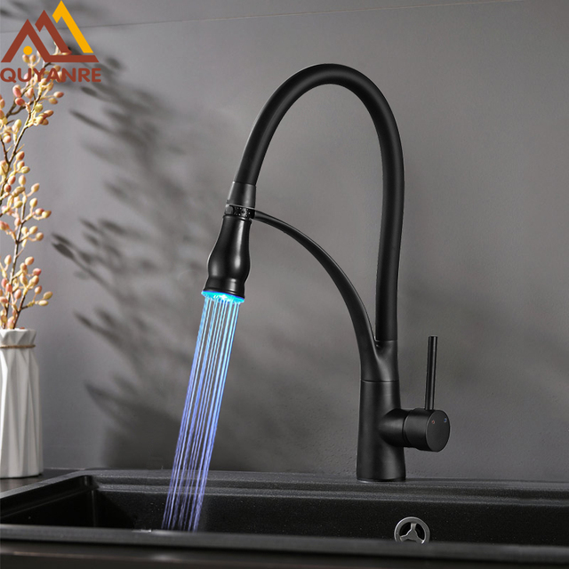 Quyanre Black Chrome Led Kitchen Faucet Pull Out Led Spray Kitchen