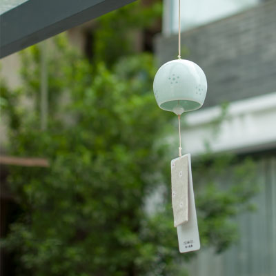 Handmade Ceramic Wind Chimes Ornaments Japanese style Wind Car Pendant Home Decorations Creative Birthday Gifts in Figurines Miniatures from Home Garden