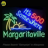 NEON SIGN For It S 5 O Clock Somewhere Margaritaville GLASS Tube HANDCRAFT Pub Display Custom
