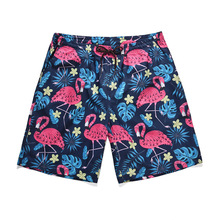 Casual Mens Board Shorts Brand Quick Drying Animals Print Swimwear Male Swimsuits Bermuda flamingo fashion print Active shorts active casual quick drying top
