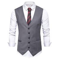 New Arrival Vests For Men Slim Fit Mens Suit Vest Male Waistcoat Gilet Homme Casual Sleeveless Formal Business Jacket M 3XL