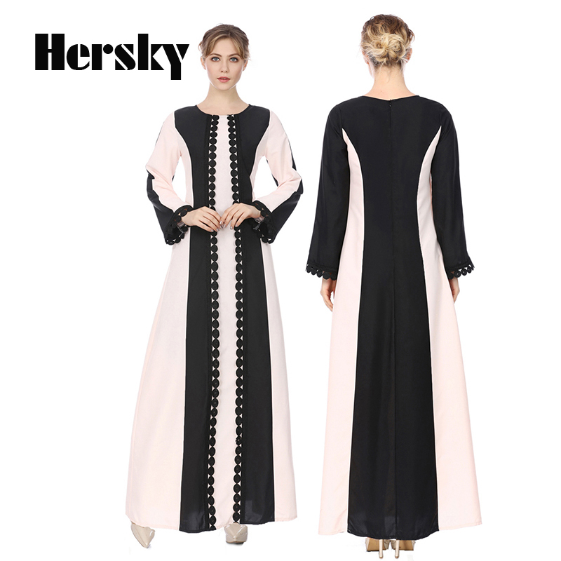 2018 Middle East Fashion Abaya Muslim Prayer Dress Dubai Kaftan Islamic Turkish Round Neck Baju Muslim Abayas For Women Clothing