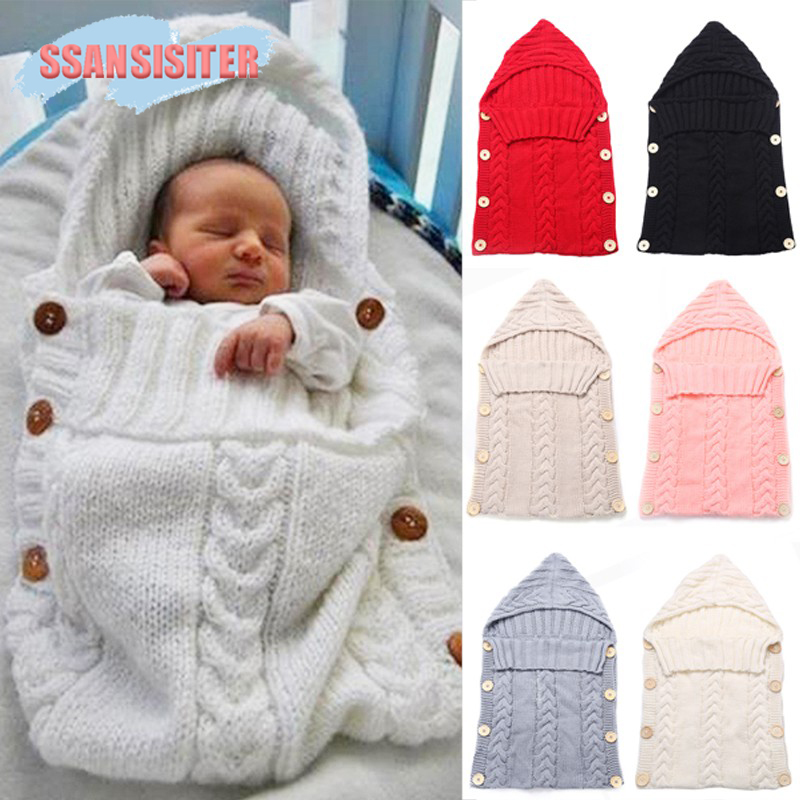 Newborn Baby Hooded Blanket Sleeping Bag Knit Crochet Winter Hooded Stroller Swaddle Blanket Solid Wrap Knitted Sack Bedding