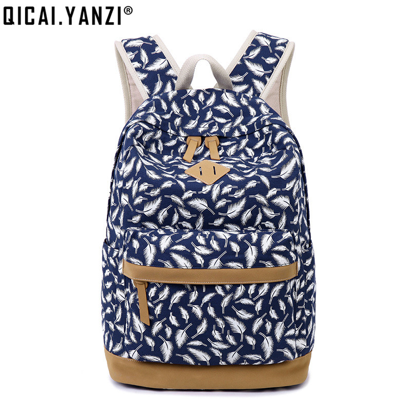 QICAI YANZI Student Unique Feathers Printing Shoolbags Teenager Girls Book Bags Cute Women Soft Tote Backpack