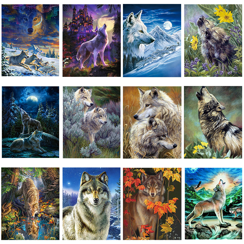 5D DIY Full Drill Diamond Painting Animal Scenery Cross Stitch Embroidery Art