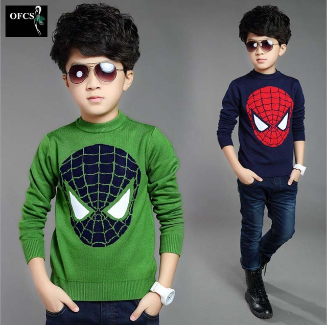 2016 NEW Boys Spring & Autumn Sweater Children's Handsome England Style 2 Colors Spider-Man O-neck Outerwear Top Kids 5-15 Age