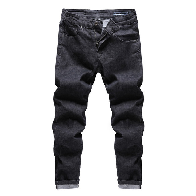 GustOmerD 2018 New Men's Black Jeans Brand Zipper Straight Pantalon Homme Jean Slim Solid Color Design Biker Pants Fit Casual