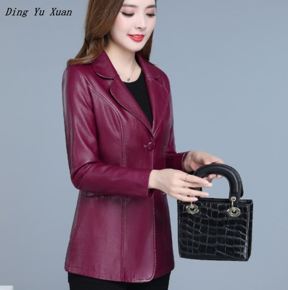Plus Size Faux Leather Short Jacket Coat Women Slim Fit Pu Leather Oversize Blazer Black Red Spring Autumn Blazer Mujer 5XL 6XL