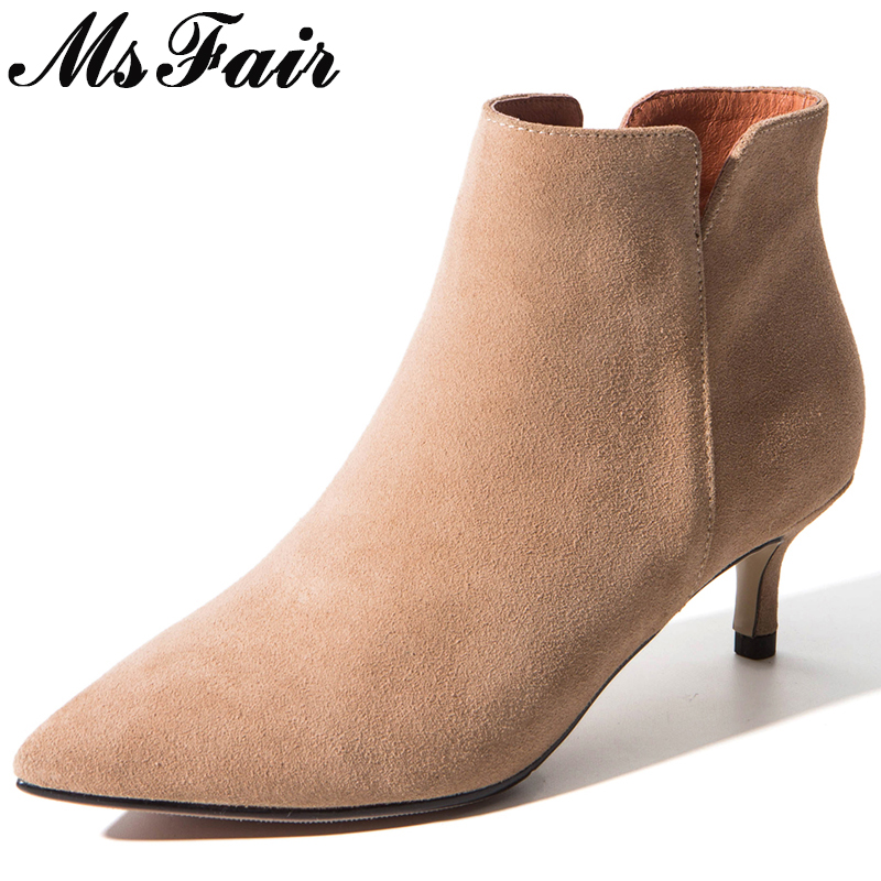 MSFAIR Pointed Toe Thin Heels Women Boot Casual Fashion Zipper Ankle Boot Women Shoes Mature Concise High Heel Ankle Boot Woman все цены