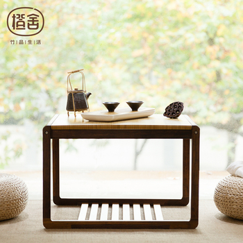 ZENS BAMBOO Square Tea Table Modern Chinese Style Bamboo Coffee Wooden Living Room Home