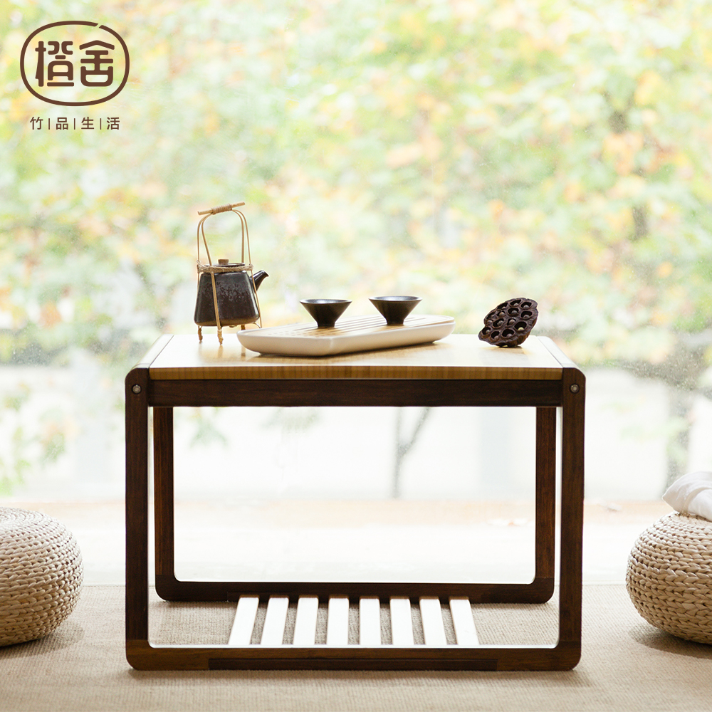 ZEN'S BAMBOO Tea Table Square Modern Chinese Style Bamboo Coffee Table Wooden Table Living room/bedroom/balcony Furniture