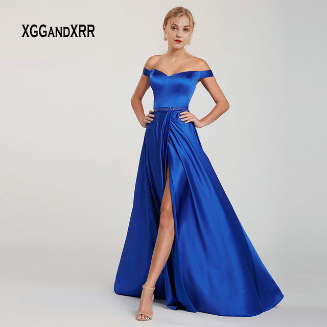Elegant Satin Long Prom Dress 2019 Evening Party Gown Cut Out Back Bodice Off Shoulder Sexy Side Slit Blue Graduation Dresses