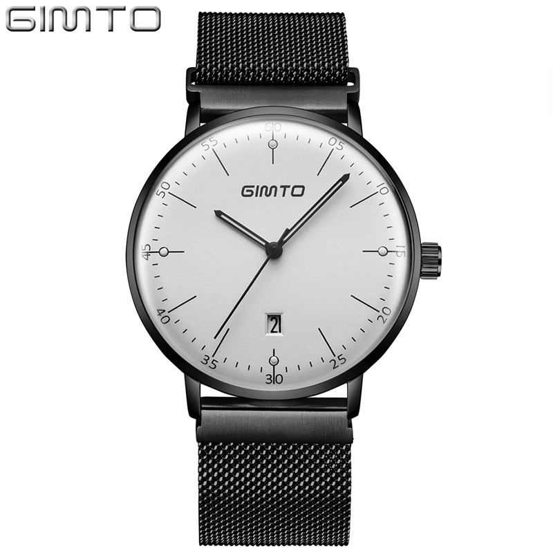 GIMTO Ultra Thin Vintage Quartz Wristwatches Fashion Waterproof Watch Men Japan Movement Watches Mens Clock erkek kol saati 2018 orkina fashion casual men clock black stainless steel case male watches japan quartz movement water resistant erkek kol saati