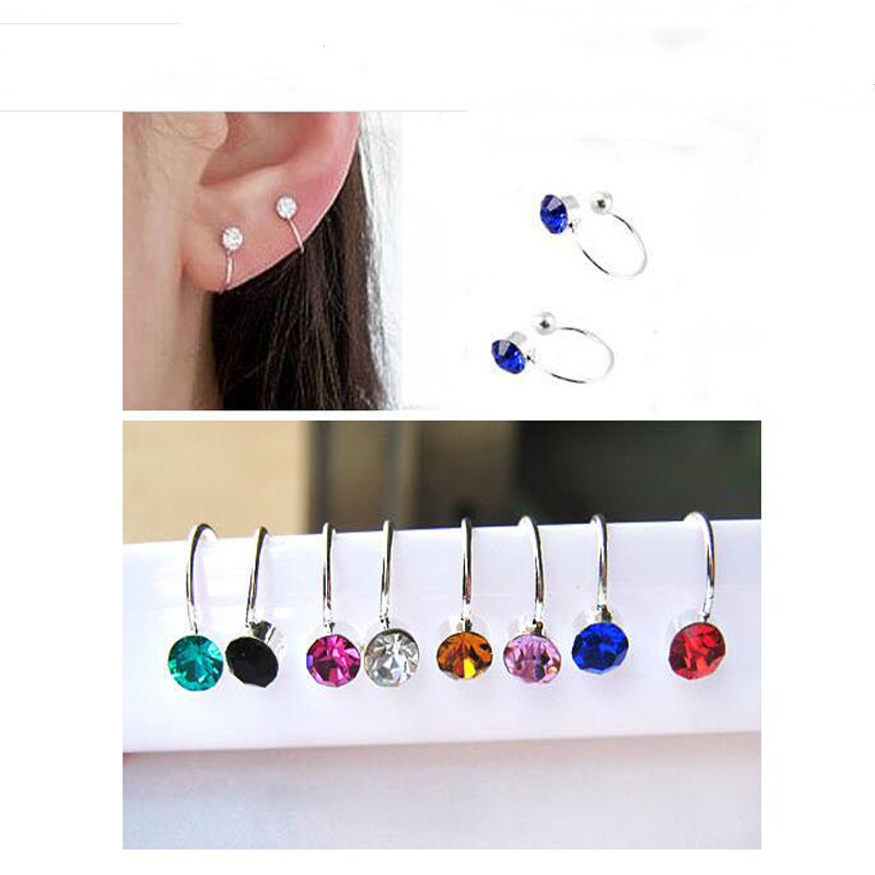 Punk 2 Pcs Silver Plated Inlay 4MM Rhinestone No Hanging U-Shaped Clip Without Pierced Ear Stud Fashion Earrings jewelry Bijoux