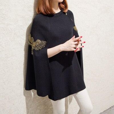 Чесанф осень зима Подиум черный серый вышитый бисером пончо и накидки-пуловеры вязаный шерстяной свитер женское рождественское пальто - Цвет: Черный