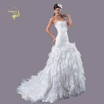 2ad5b8fd03d Бальное платье белого цвета с цветами Элегантные Свадебные платья Часовня  Поезд Свадебное платье Vestido De Noiva халат в стиле бохо де mariée Grande  .