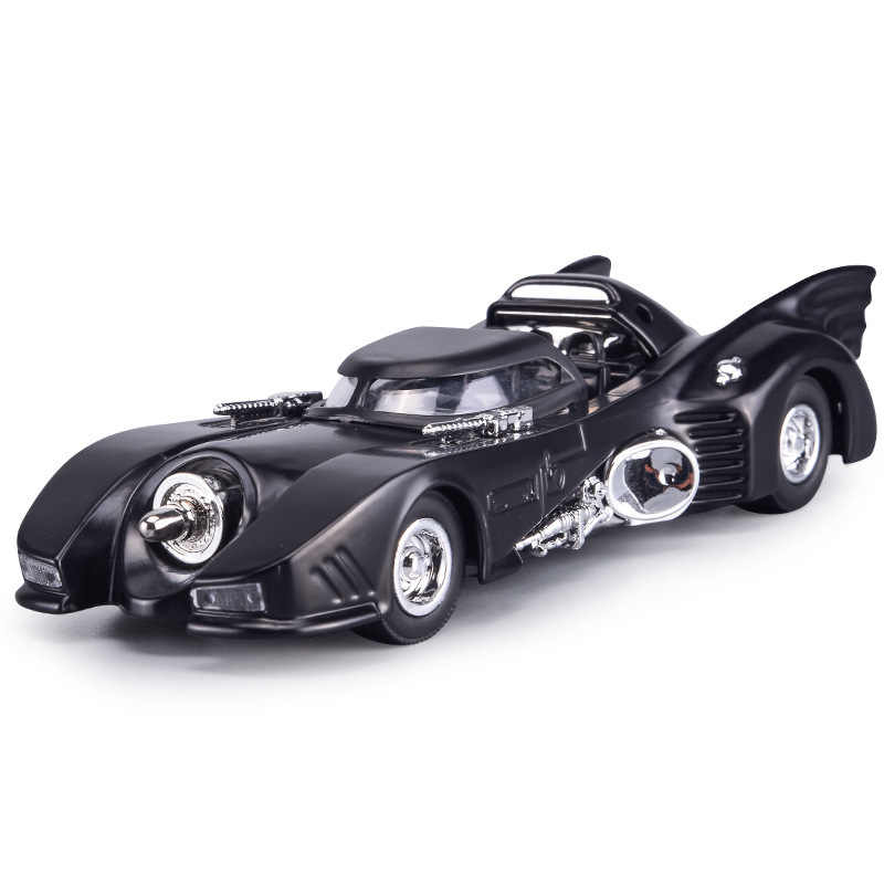 1:32 Alloy Vintage Bat Chariot Diecast Car Models Pull Back Simulation Classic Car With Light Collection Toys For Children Gifts