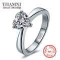 YHAMNI 100% Original Silver Ring for Women Romantic Heart 2 Carat CZ Diamond Engagement Wedding Rings Jewelry Wholesale JZR100