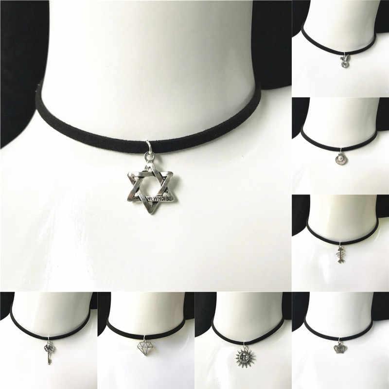 Baru Fashion Perhiasan Sederhana Hitam Pita Beludru Kalung Kristal Liontin Paduan Chokers Kalung untuk Wanita 2019 Perhiasan Hadiah