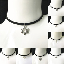 Crystal Necklace Pendant Jewelry Chokers Gift Women New-Fashion for Velvet Ribbon Alloy